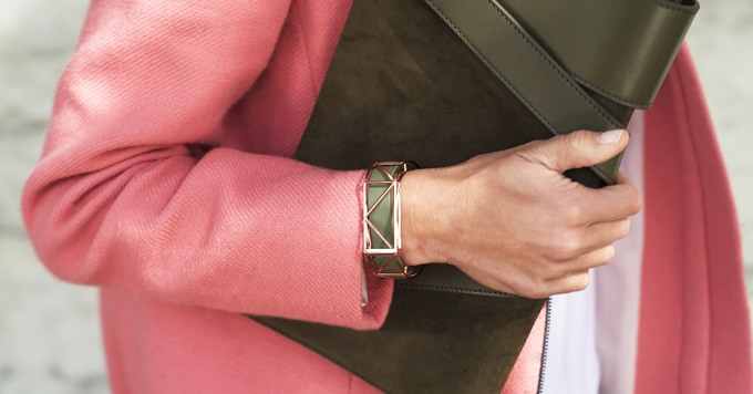 Rose Gold Bellafit with Olive green band Fitbit Flex