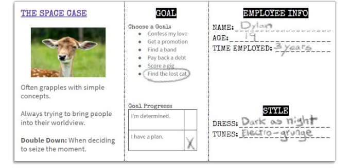 A snippet from the Damn the Man playtest character sheet. Final design subject to change.