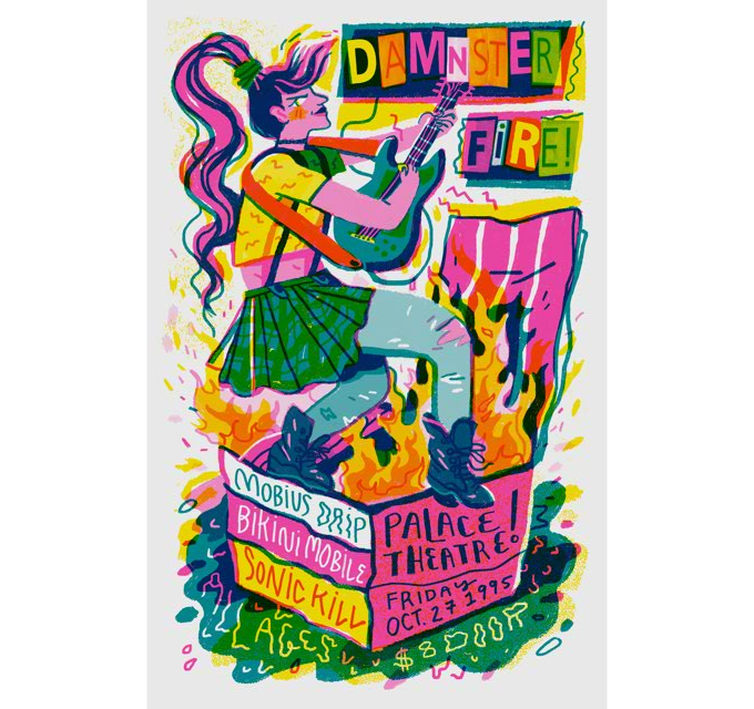 Damnster Fire, everyone's favorite '90s riot grrrl band. From artist Sarah Robbins.