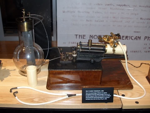 The first Edison phonograph from 1877, with a blank wax cylinder by Shawn Borri.