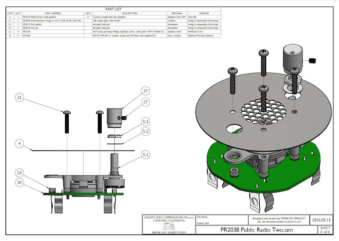 The Public Radio v2.0's main mechanical assembly