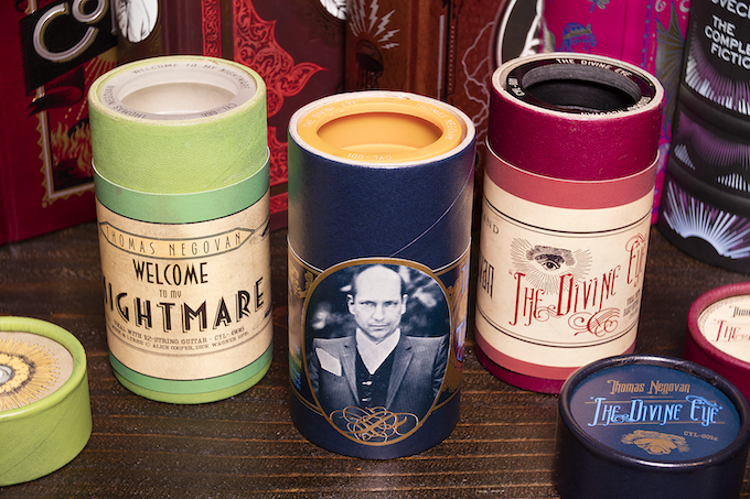 The three Thomas Negovan wax cylinders inside their cases.