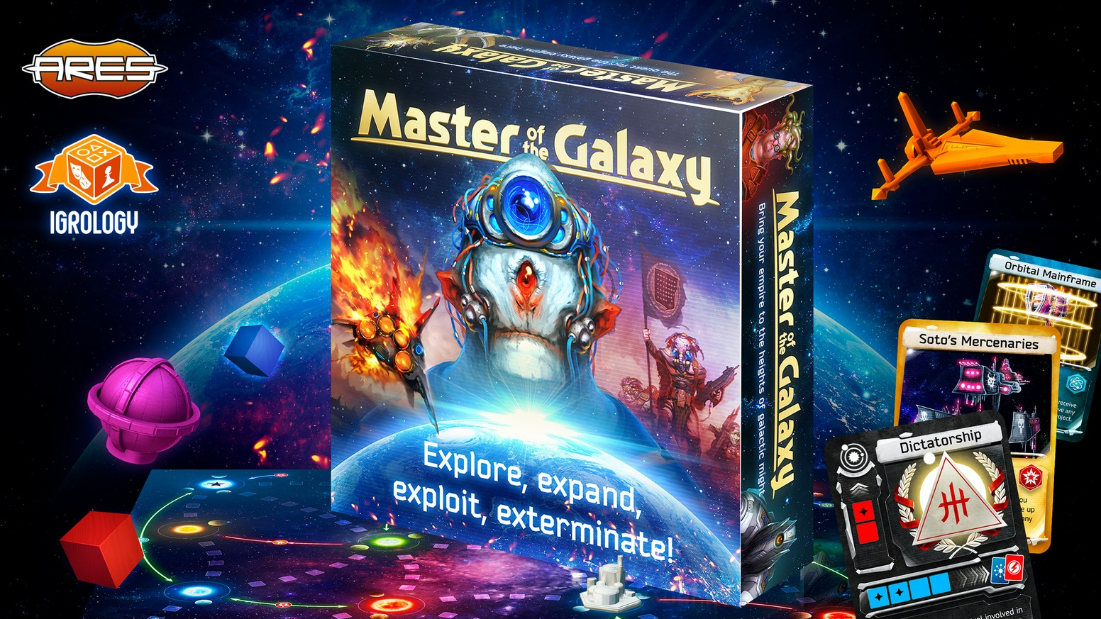 Jump to the stars and build your galactic civilization in this fast-paced, innovative 4X board game with bag-building & card drafting.