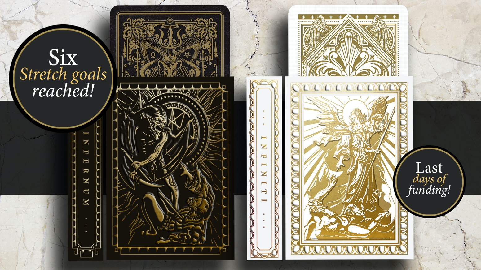 2 limited ed. decks with metallic ink and gold foiled, embossed tucks. Volume III in the 'Light vs. Darkness' series by artist Nicolai Aaroe.