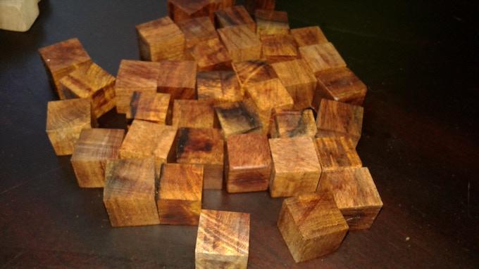 Rough cut mesquite cubes