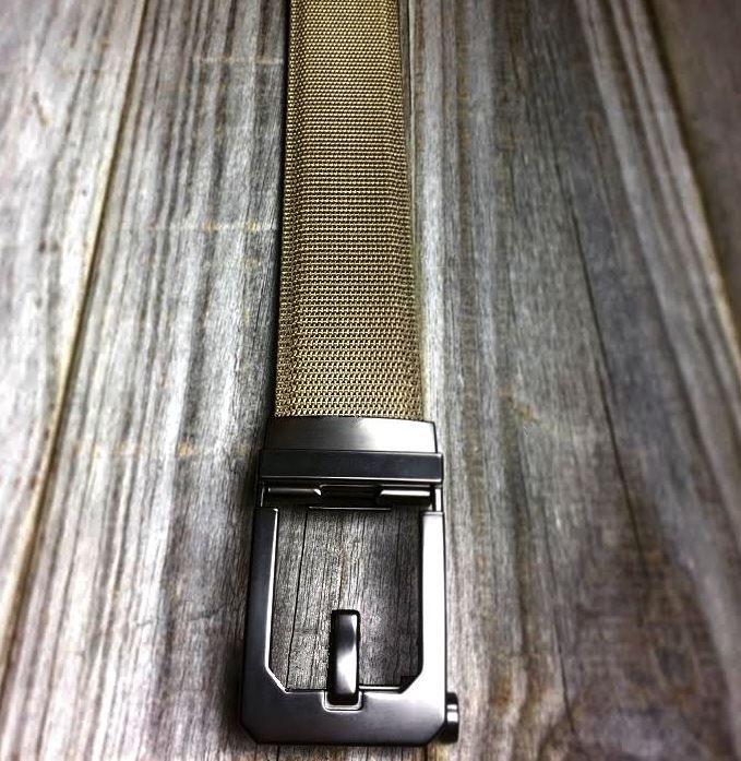 X3 Buckle & Tan Reinforced Nylon Belt