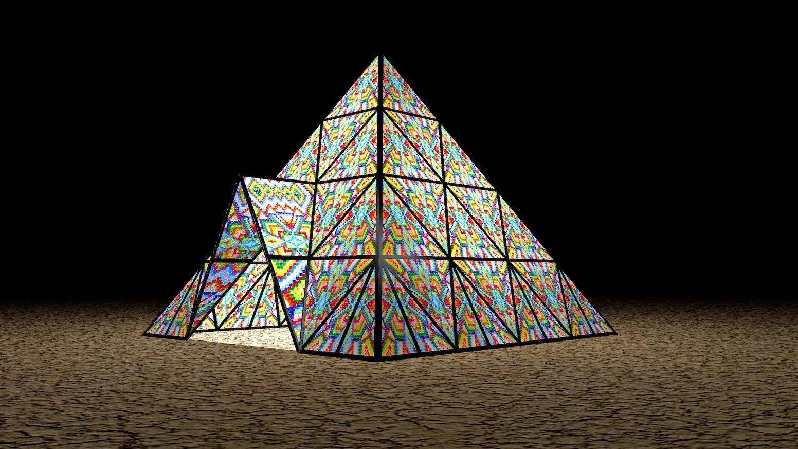 88c25603d8362 Gummy Bear Pyramid Art Installation Burning Man 2017. 14ft Light  Installation made ...