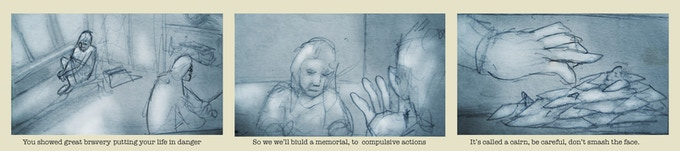 story board narrative tryptic