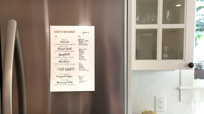 It even has a magnet on the back so you can display your menu on the fridge for everyone to see