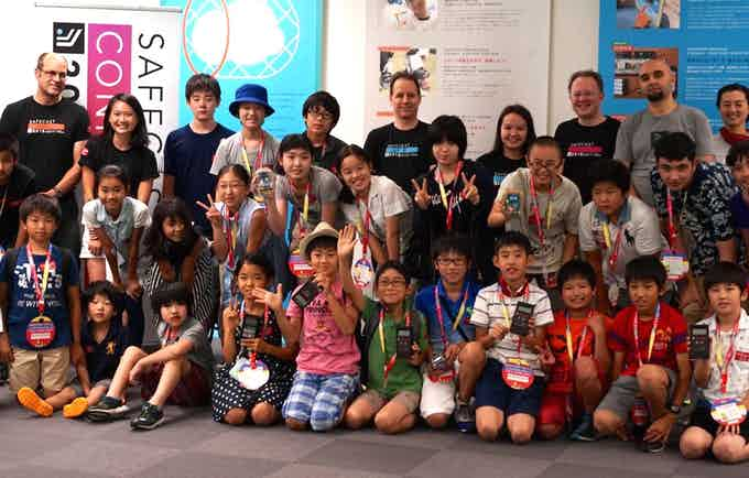 Safecast educational outreach increasingly includes children, such as this group in Tokyo.
