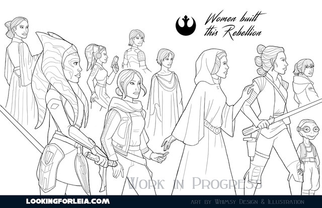 T-shirt art for Women Built This Rebellion & Girls Run the Galaxy #3, exclusive for KS backers from Whimsy Design & Illustration