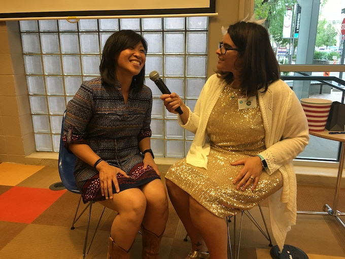 """Trish Tolentino(Stories Not Forgotten) & Rebekah Henderson at Q&A for What Makes a Mother? """"I'm not mixed but I have loved learning about what mixed race people experience. So far this has been very eye-opening for me."""""""