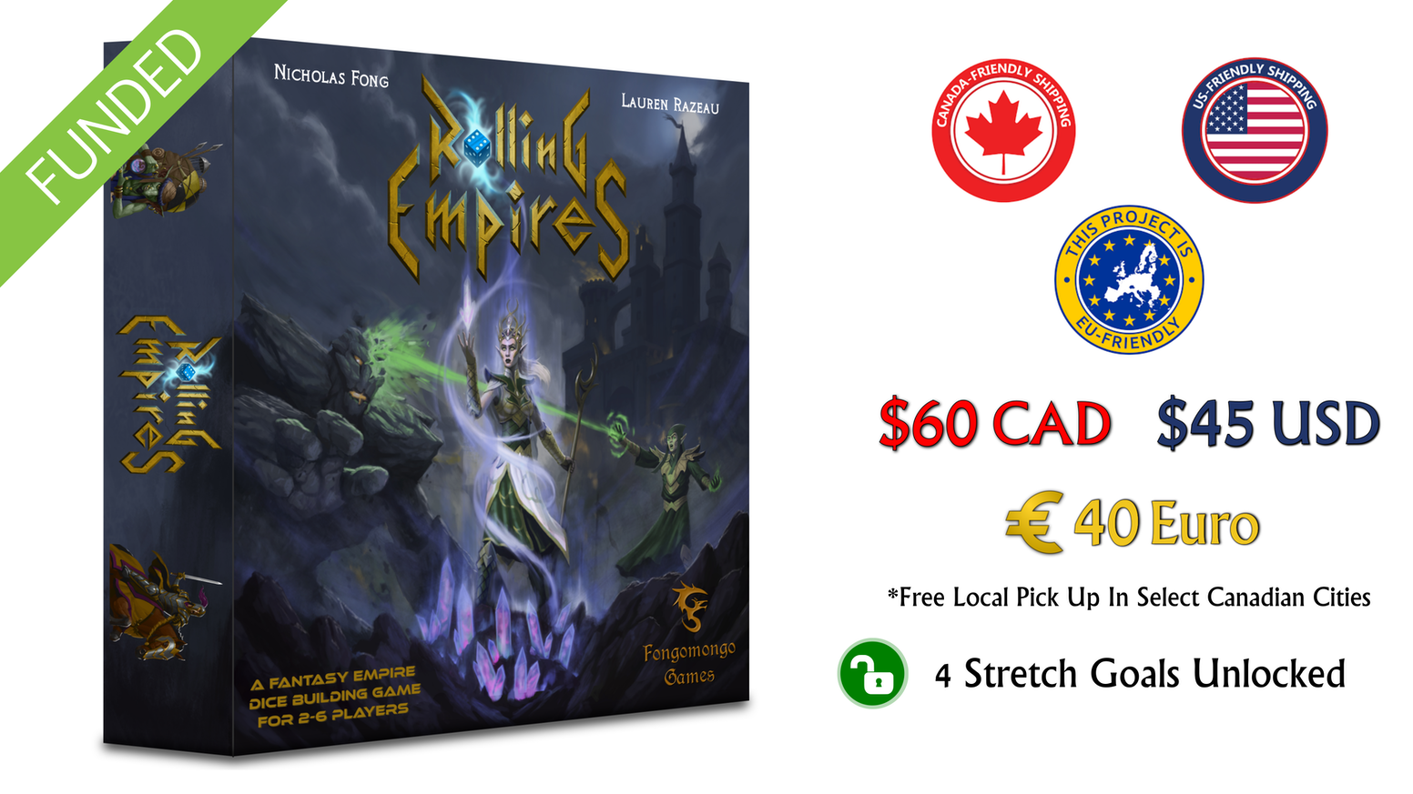 Lead your empire to glory by building a thriving city or conquering land and foreign empires in this fantasy dice building game!