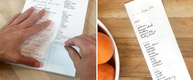 Each page is perforated, so you can tear off your list and take it with you