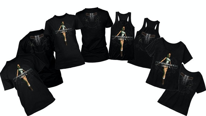 Classic Lara Black T-Shirts - Male T, Female Fit/Tank Top/Off-The-Shoulder. You can add a t-shirt to any tier by increasing your pledge by £20. After doing so, message us with the requested shirt and we will mark it on your account.