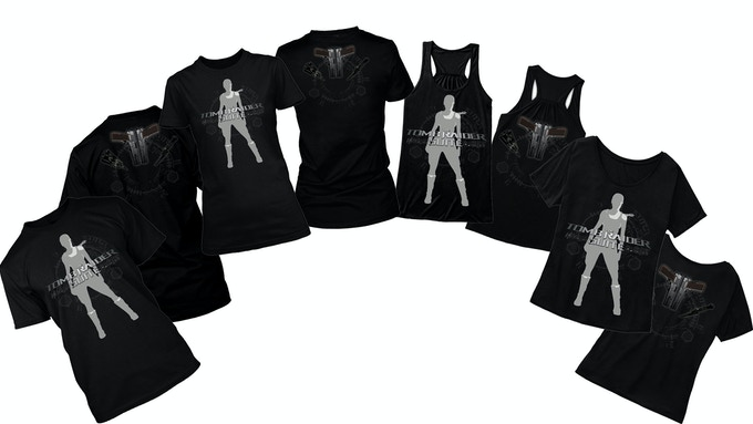 Modern Lara Black T-Shirts - Male T, Female Fit/Tank Top/Off-The-Shoulder. You can add a t-shirt to any tier by increasing your pledge by £20. After doing so, message us with the requested shirt and we will mark it on your account.