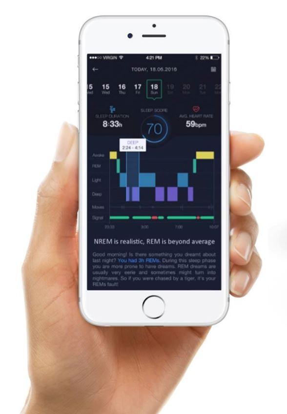 After sleep you can read all the data in the Neuroon Open App