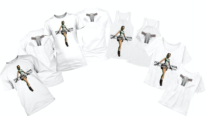 Classic Lara White T-Shirts - Male T, Female Fit/Tank Top/Off-The-Shoulder. You can add a t-shirt to any tier by increasing your pledge by £20. After doing so, message us with the requested shirt and we will mark it on your account.