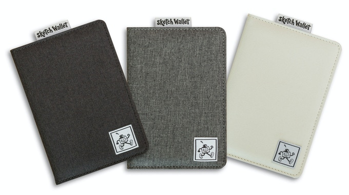 The canvas wallet comes in black, gray, and bone-white.
