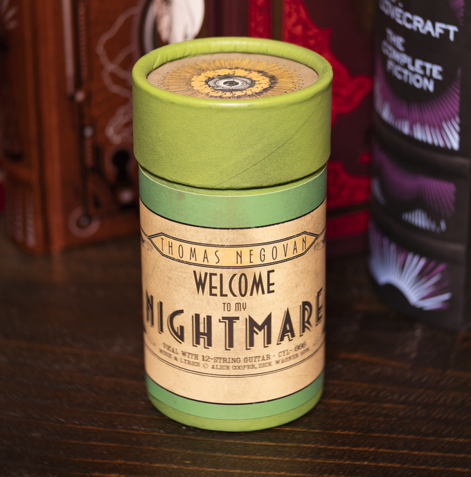 Welcome To My Nightmare glow-in-the-dark wax cylinder