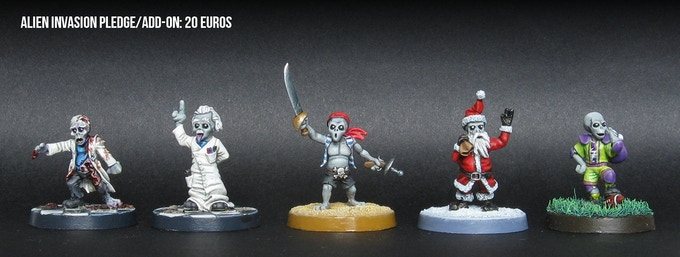 The 5 miniatures in the Alien Invasion pledge