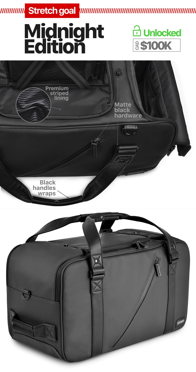 All black Midnight Edition will be available to anyone who gets an EZ_Duffle, as an option, at no extra cost.