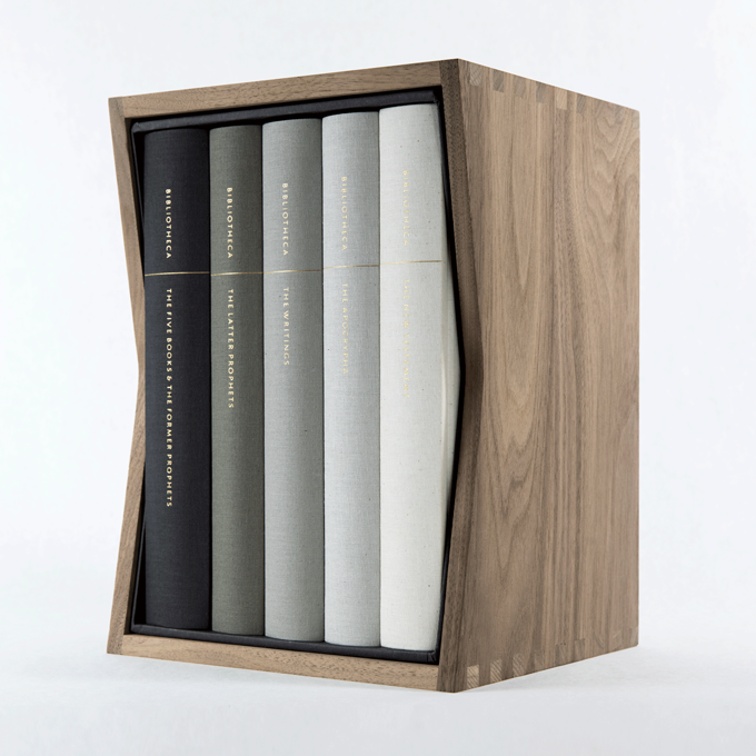 Bibliotheca housed in the Solid Walnut Slipcase