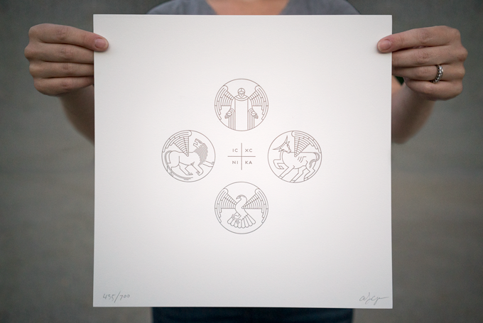 """Original artwork by Adam Lewis Greene / """"Christogram and The Four Evangelists"""" / Limited edition 12x12 letterpress broadside / Metallic pewter ink / Signed & numbered / (IC XC NIKA = Jesus Christ Conquers)"""