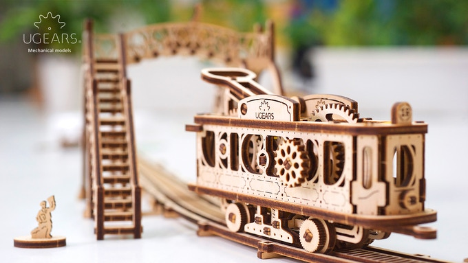 Ugears Tram Line Model. Mechanical Town Series