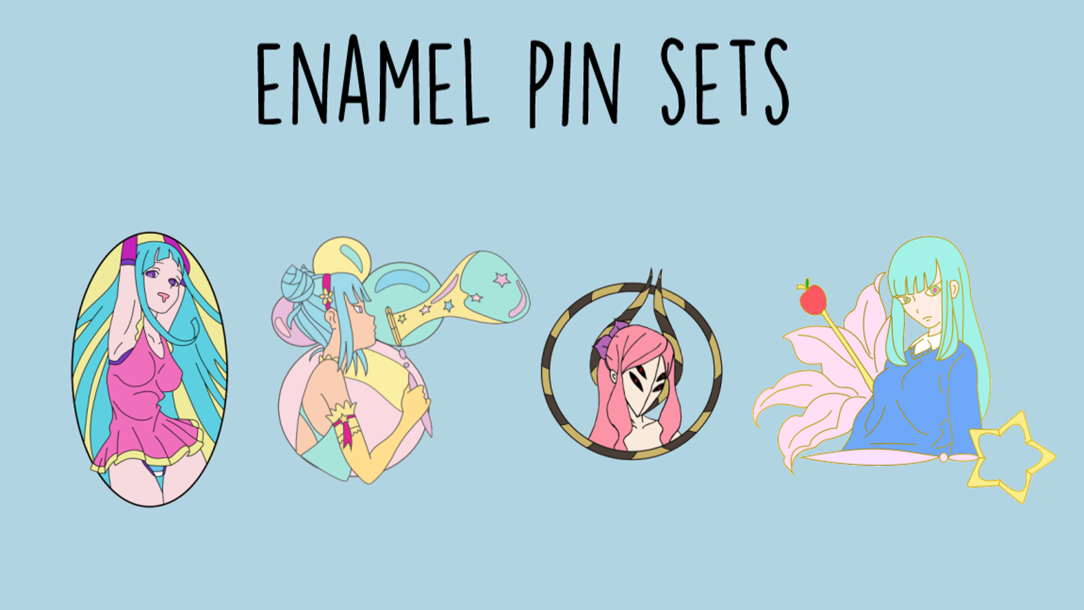 kawaii creepy enamel pins mememe and girl themed by rose