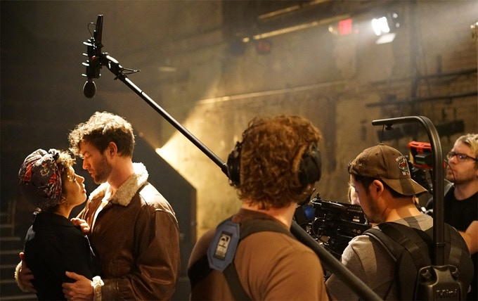 Sam Simmons & Peter Christian Hansen filming the play-within-the-film scene
