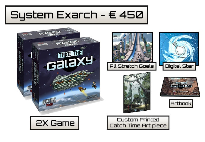 You will receive a custom made CatchTime artwork featuring a comic version of you in a Take The Galaxy background on a 40x30 Forex piece, the exclusive Take The Galaxy art book, two copies of the game, all unlocked stretch goals and a digital star!