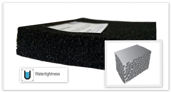 Semi-closed cell EPDM foam with excellent sealing properties