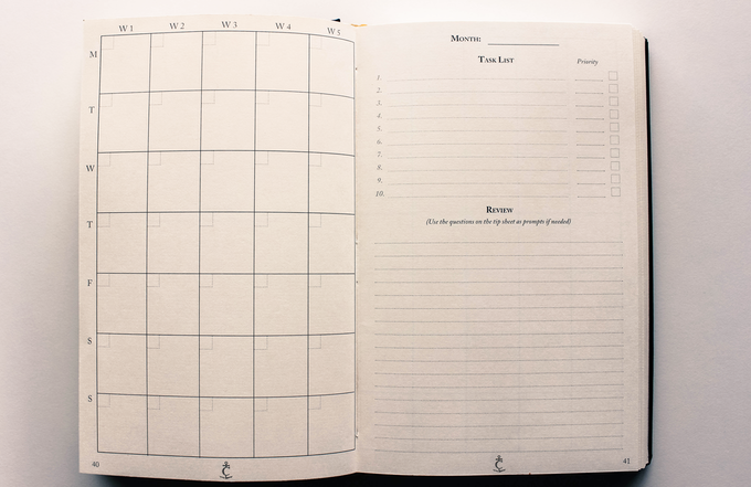 Monthly page layout