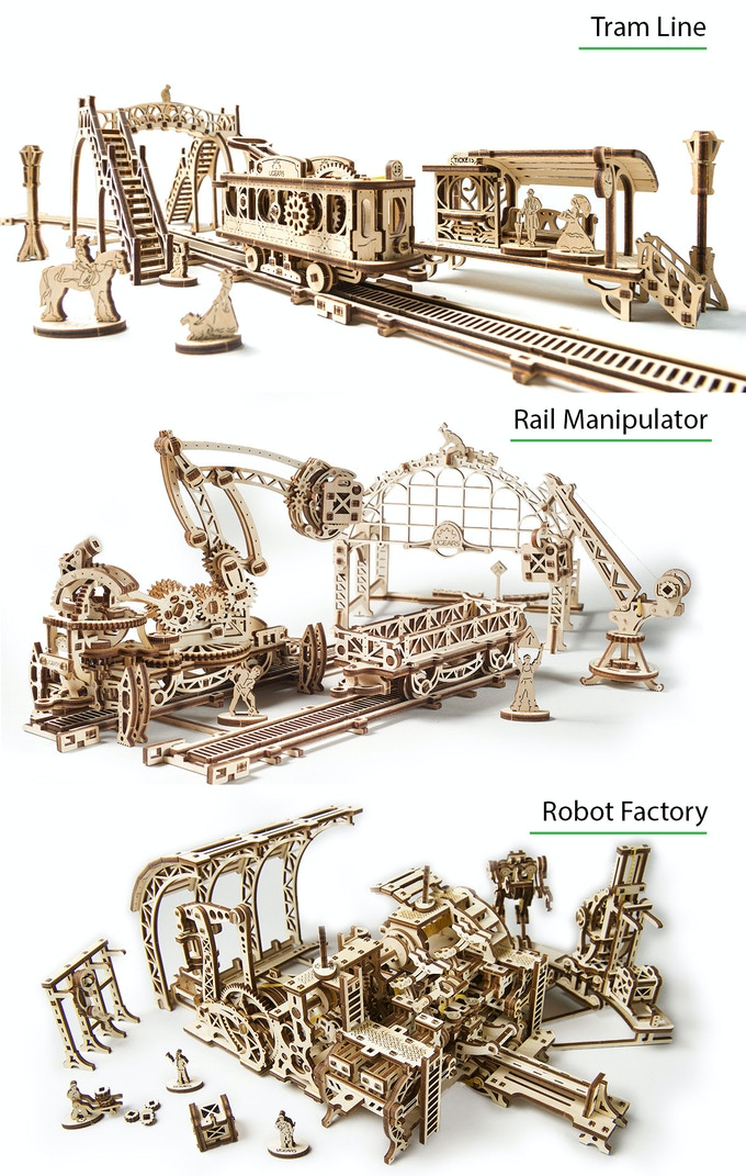 The 3 models of Ugears Mechanical Town Series