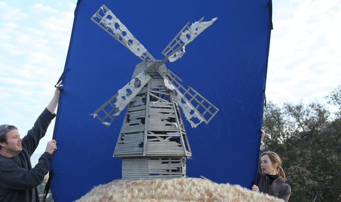Preparing a pre-dawn location model shot of the windmill for THE MILL AT CALDER'S END.