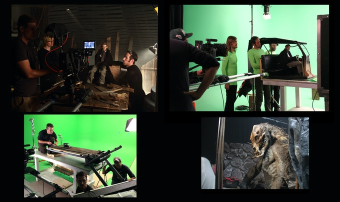 """Production Stills from THE MILL AT CALDER'S END. A combination of practical sets, greenscreen composite shots, miniatures (including a Model T on a converted exercise treadmill), and the full size """"Bramblegore"""" creature."""