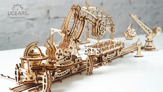 Ugears Rail Manipulator Model. Mechanical Town Series