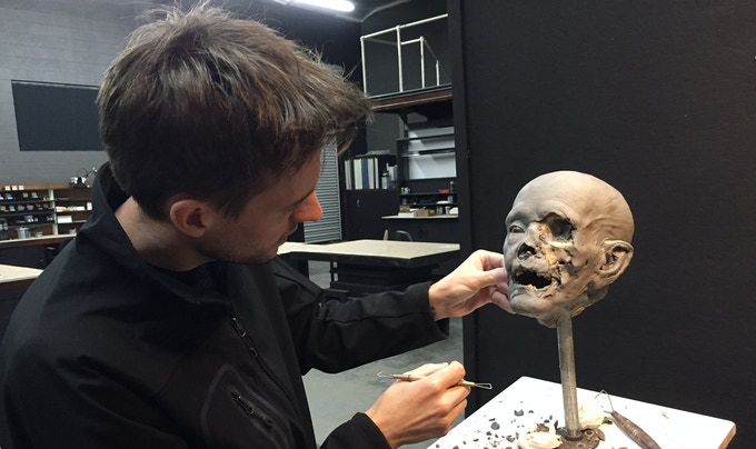 For THE HAUNTED SWORDSMAN. Lead sculptor Arjen Tuiten (Wonder, Pan's Labyrinth) details the severed head of the Navigator character. This will be the full size insert version for the animatronic head.