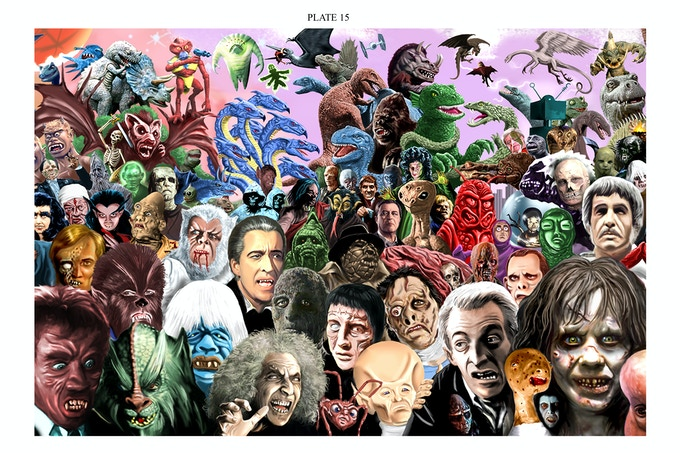 Another sample spread- notice we have Christopher Lee as The Mummy, Frankenstein's Monster and Dracula all lined up. There are many interesting grouping like this all through the mural.