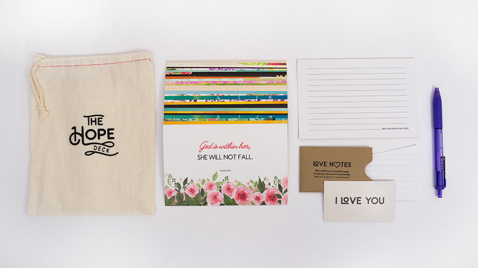The Hope Deck is a collection of inspirational Bible verse postcards packaged in a soft cloth bag - a perfect stocking stuffer!