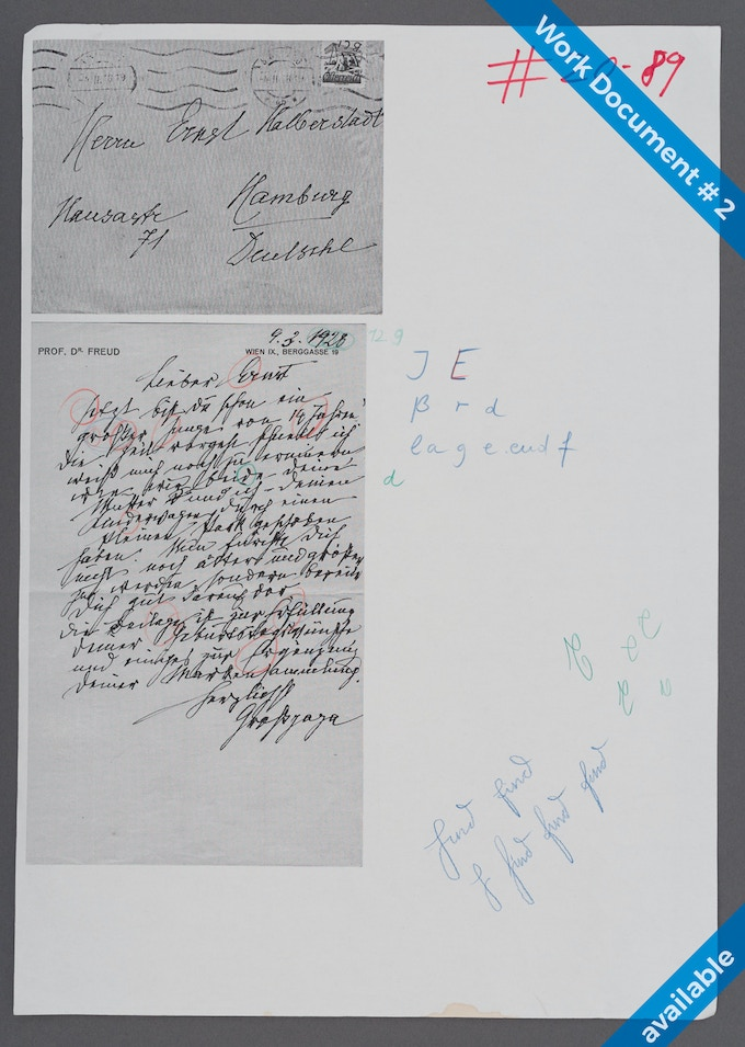 "400€ Work Document #2: Page and Envelop of Letter from Sigmund Freud to his grandson Ernst, March 1928. Various samples of the letter E, J and the german ""ß"". Movement studies in blue and green. Size DIN A3 (297mm x 420mm)"
