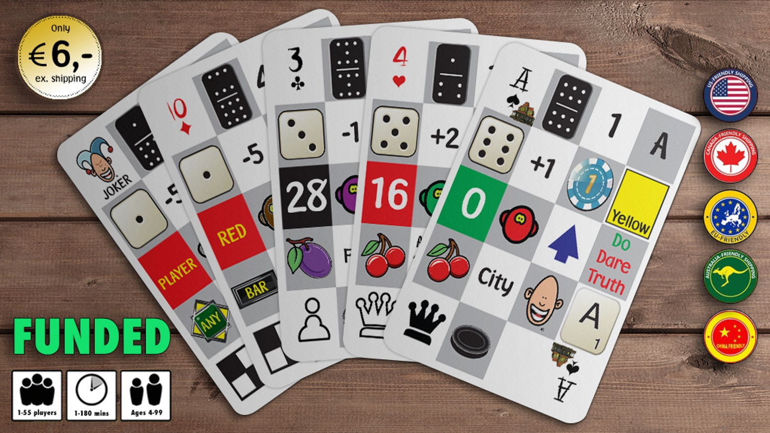 Playing Cards with extra games and extra functionality. Domino, Chess, Band It, Roulette, Dice, Play Money, Play Fields and more...