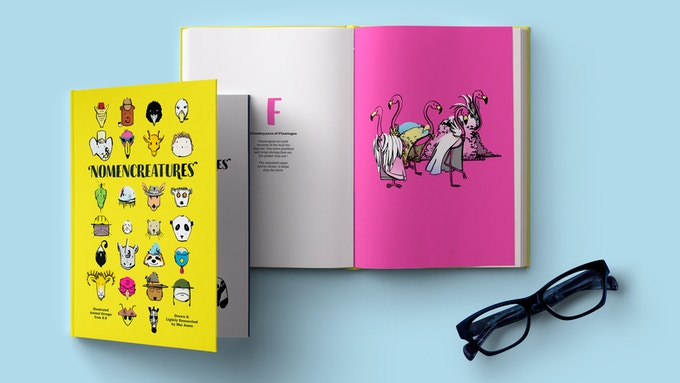 Artist's rendering! The book, an interior spread with flamingos, and some glasses. (Glasses not included in rewards.)