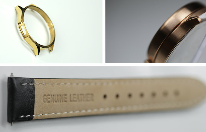 case in gold, rose gold finish, and quality leather for the strap