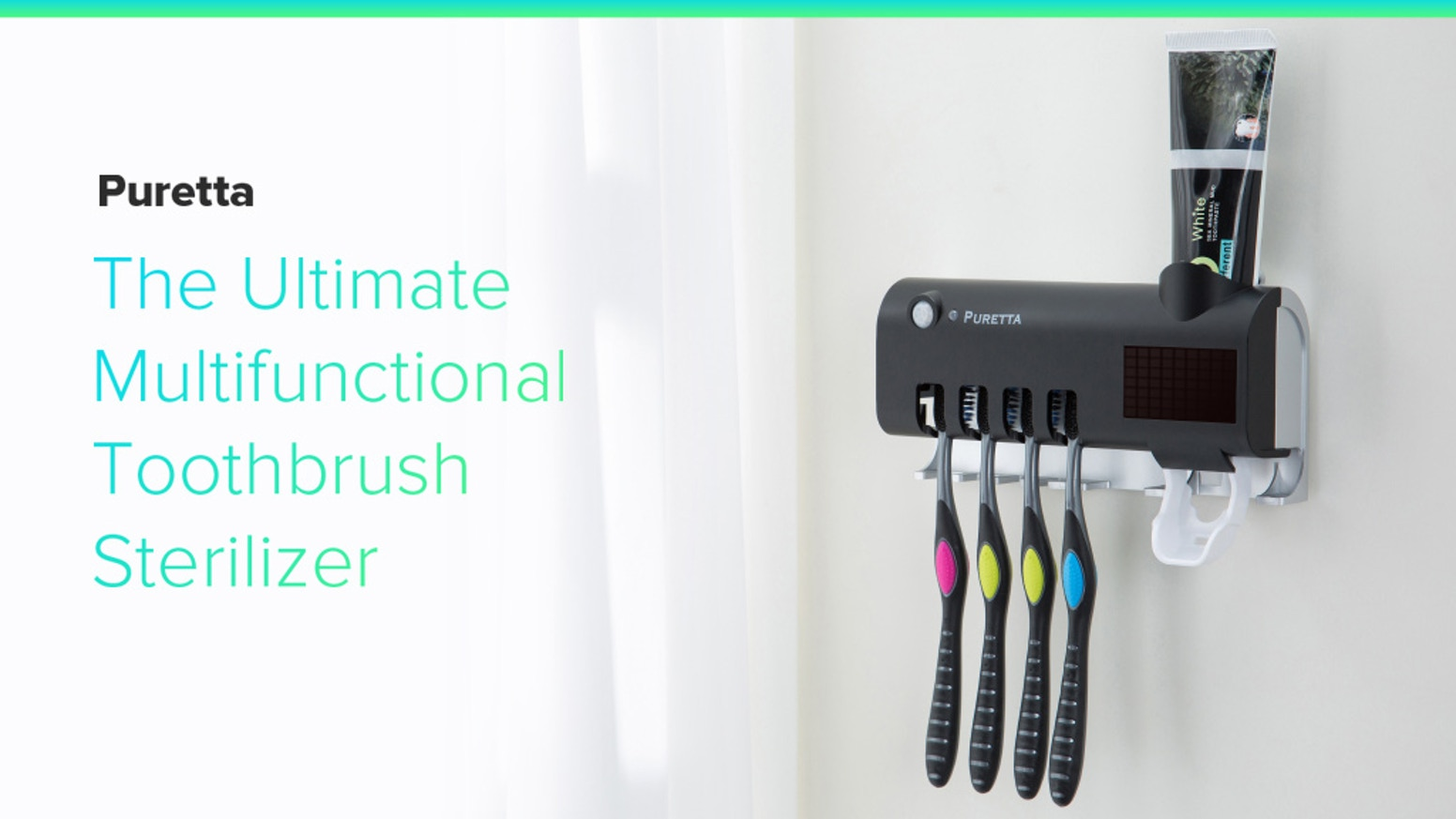 Advanced Infrared, Solar Powered Multi-Functional Sterilizing Toothbrush Station. Kills 99.9% of Bacteria and Germs.