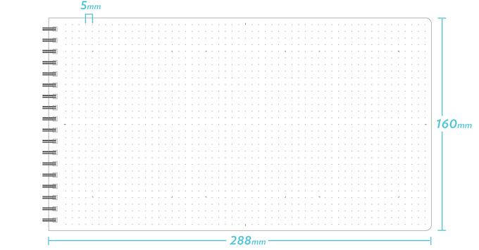 5 mm dot grid on a 288 mm x 160 mm sheet.