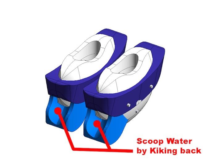 Scoop water by kiking back