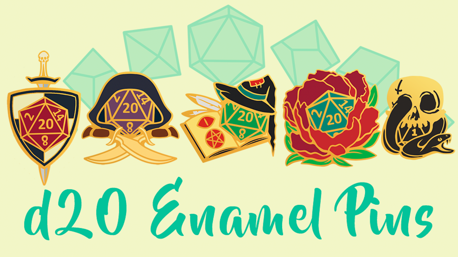 D20 Enamel Pins is a set of gold hard enamel pins inspired by different classes from Dungeons & Dragons!