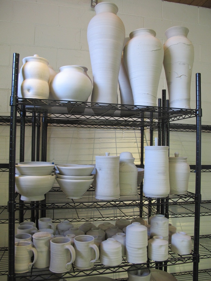 Large pots, covered jars, mugs, tea bowls to be glazed when the kilns are up and running!